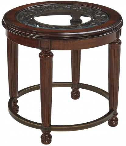 Leahlyn Reddish Brown Round End Table