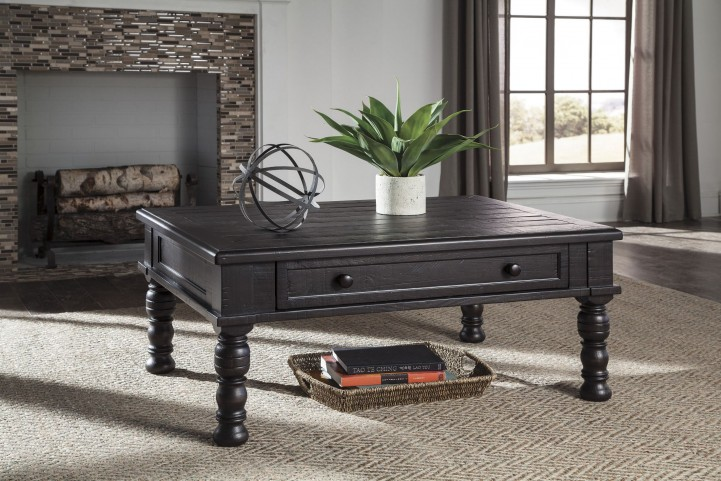 Sharlowe Distressed Worn Dark Charcoal Occasional Table Set