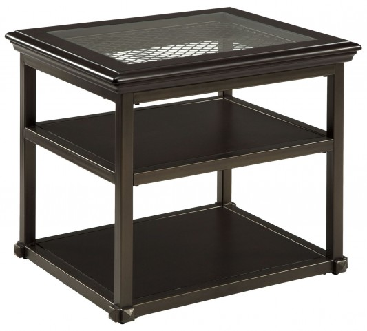 Florentown Dark Brown Rectangular End Table