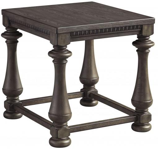 Larrenton Grayish Brown Rectangular End Table