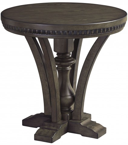 Larrenton Grayish Brown Round End Table