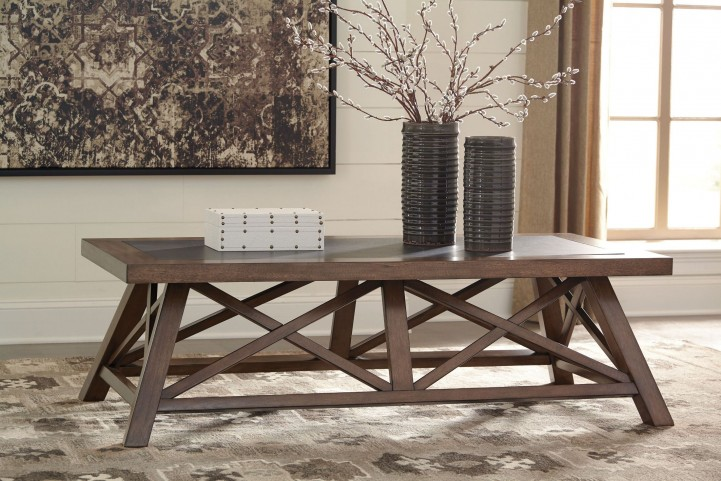 Campfield Brown Rectangular Occasional Table Set