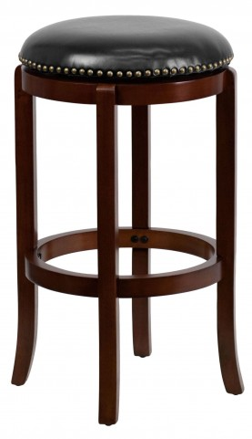 29Inch Backless Cherry Wood Black Swivel Bar Stool