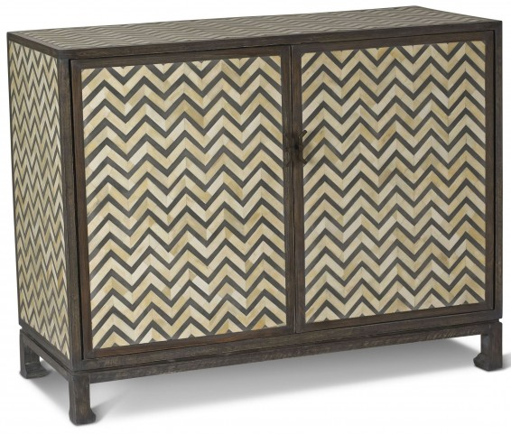 Tangier Charcoal Gray Herringbone Bone Chest