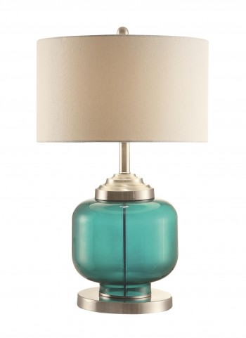 901561 Turquoise Glass & Metal Table Lamp