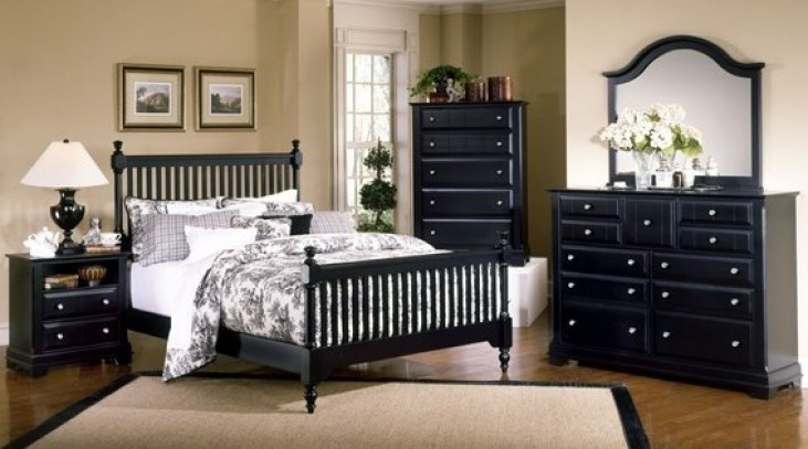 The Cottage Collection Black Slat Poster Bedroom Set