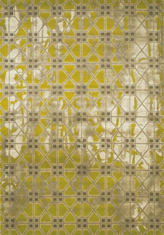 Topaz Distressed Grey/Green Tile Texture Medium Rug