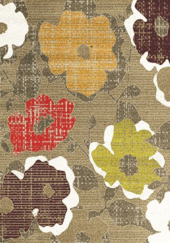 Topaz Distressed Flowers Texture Rug