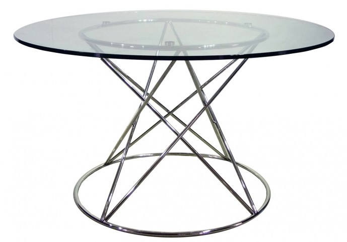 Tori Stainless Steel Metal Round Dining Table