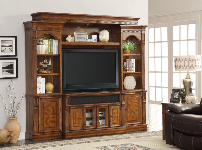 "Toscano Antique Vintage Dark Chestnut 50"" Console Entertainment Wall"