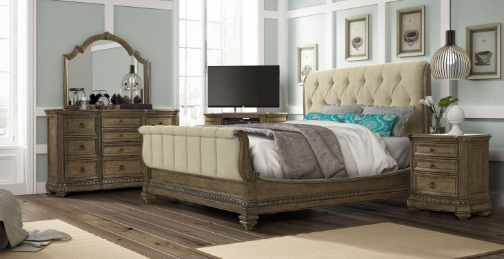 Touraine French Glazed Pecan Sleigh Bedroom Set