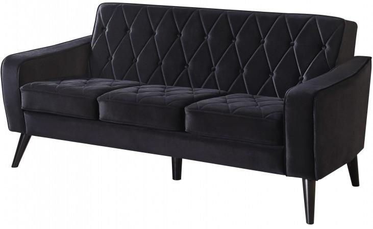 Bowery Black Velvet Sofa