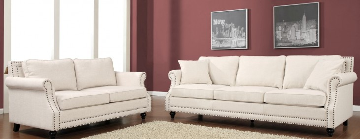 Camden Beige Linen Living Room Set