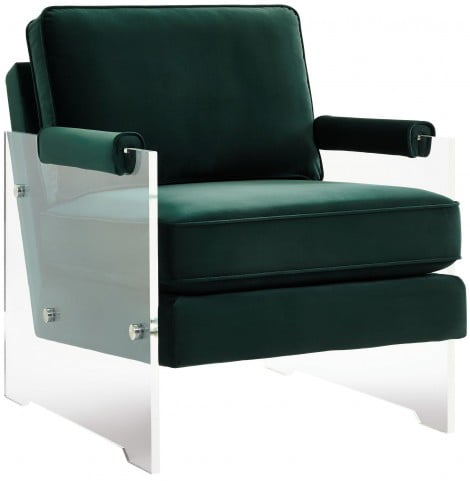 Serena Green Velvet and Lucite Chair