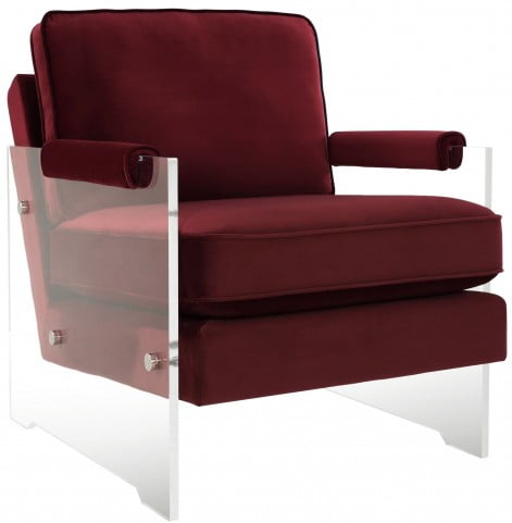 Serena Burgundy Velvet and Lucite Chair