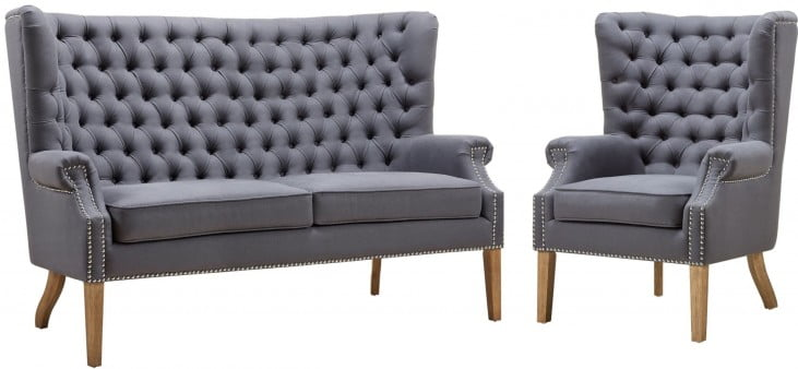 Abe Grey Linen Living Room Set