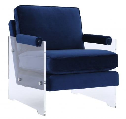 Serena Navy Velvet and Lucite Chair