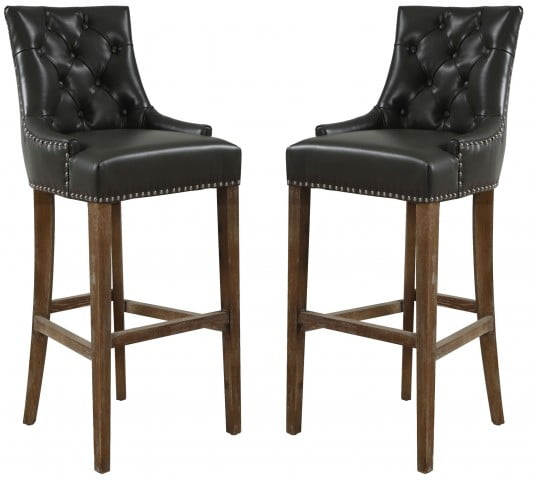 Uptown Gray Leather Barstool Set of 2