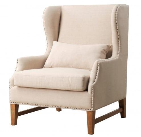 Devon Linen Wing Chair