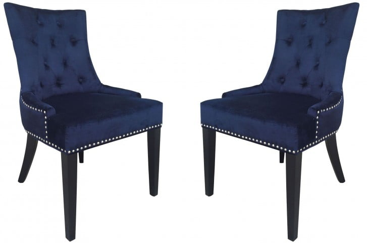 Uptown Navy Velvet Dining Chair Set of 2