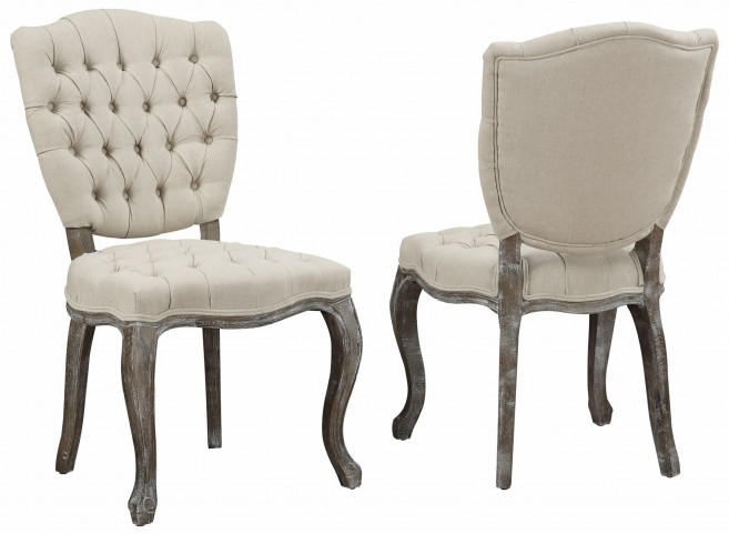 Amelia Beige Linen Weathered Oak Dining Chair Set of 2