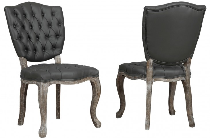 Amelia Grey Leather Weathered Oak Dining Chair Set of 2