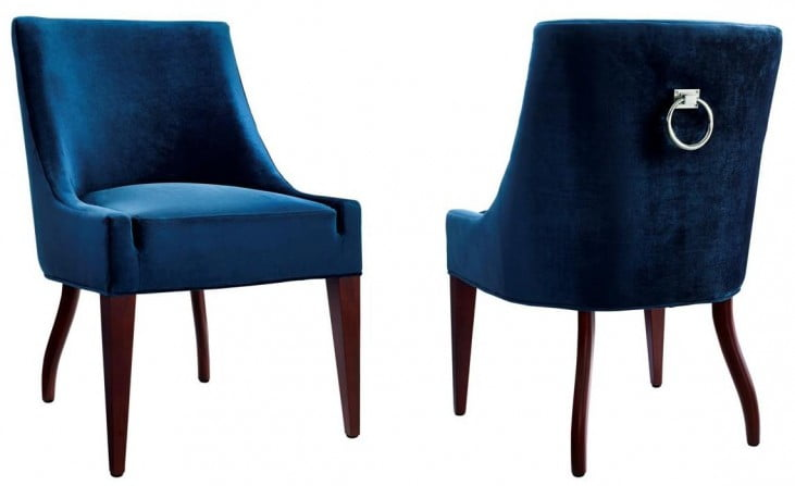 Dover Blue Velvet Chair Set of 2