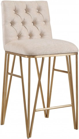 Lexi Cream Textured Velvet Bar Stool