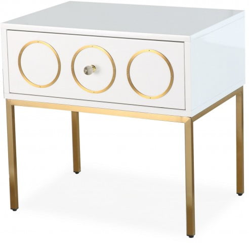 Ella White and Gold Nightstand
