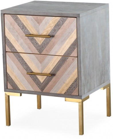 Quinn Gray and Gold Nightstand