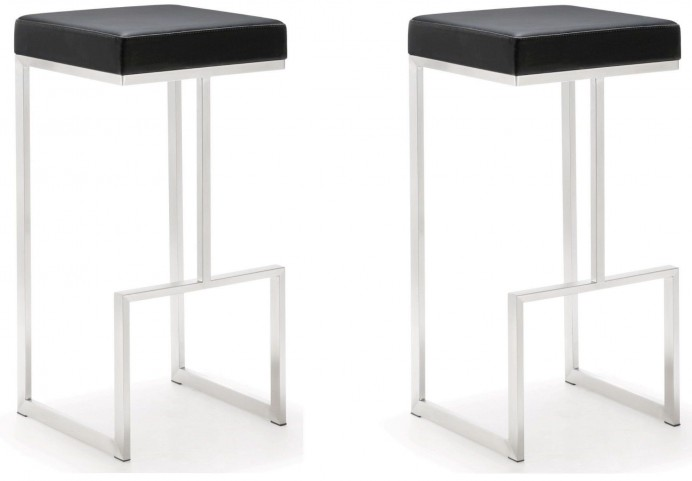 Ferrara Black Stainless Steel Barstool Set of 2