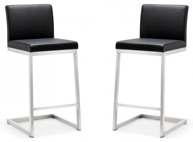 Parma Black Stainless Steel Counter Stool Set of 2