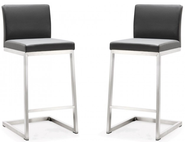 Parma Grey Stainless Steel Counter Stool Set of 2