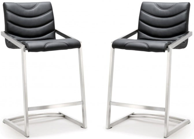 Rio Black Stainless Steel Counter Stool Set of 2