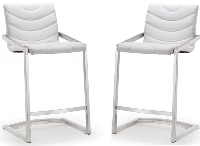 Rio White Stainless Steel Counter Stool Set of 2