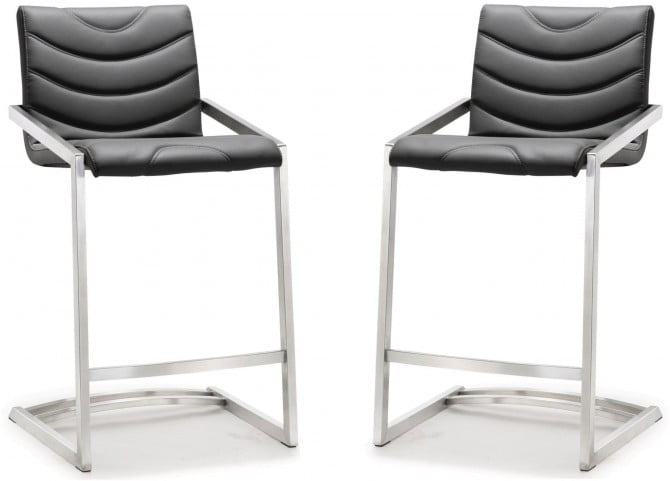 Rio Grey Stainless Steel Counter Stool Set of 2
