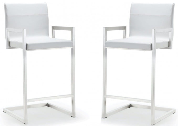 Milano White Stainless Steel Counter Stool Set of 2
