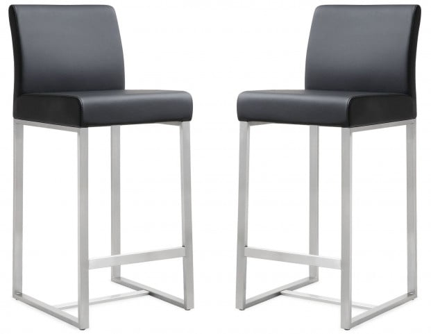 Denmark Black Stainless Steel Counter Stool Set of 2