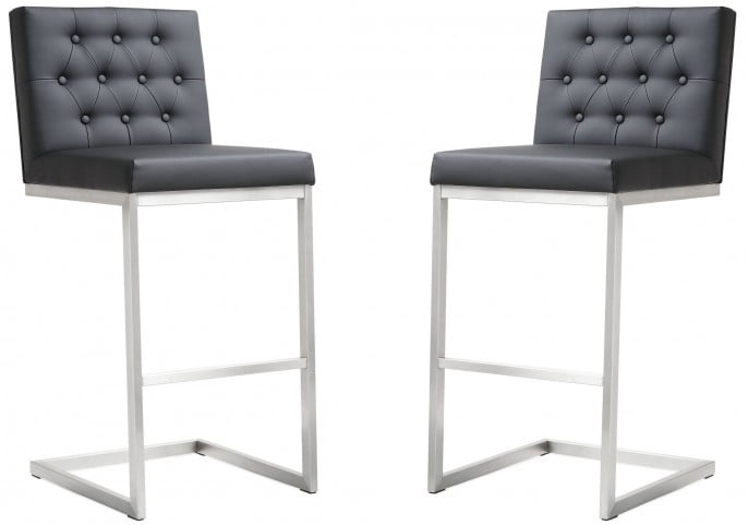 Helsinki Black Stainless Steel Barstool Set of 2