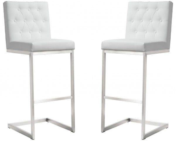 Helsinki White Stainless Steel Barstool Set of 2