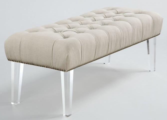 Stella Beige Linen Acrylic Bench