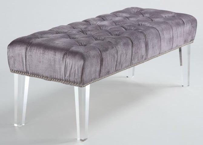 Stella Gray Velvet Acrylic Bench