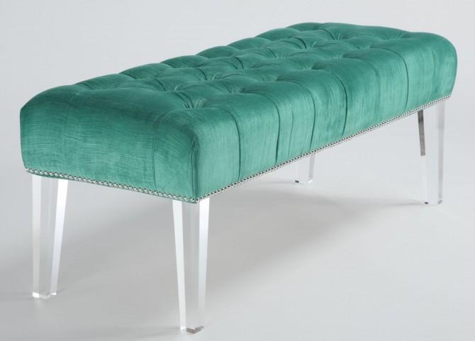 Stella Turquoise Velvet Acrylic Bench