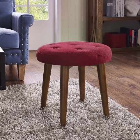 Malmo Red Linen Stool