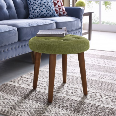 Malmo Green Linen Stool