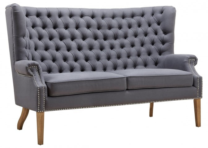 Abe Grey Linen Wing Loveseat