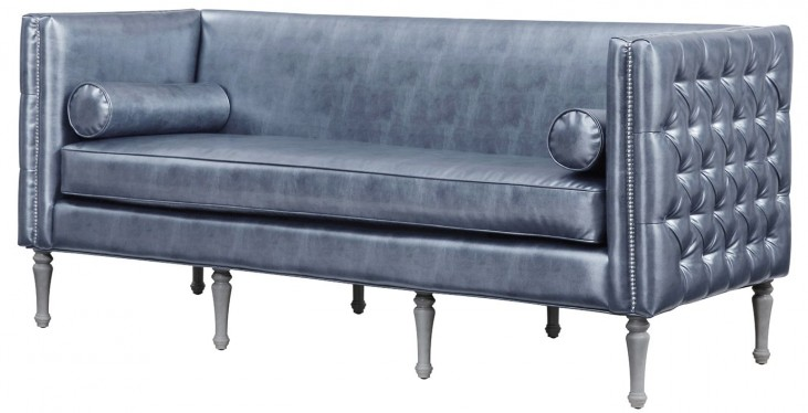 Bryn Graphite Metallic Leather Sofa