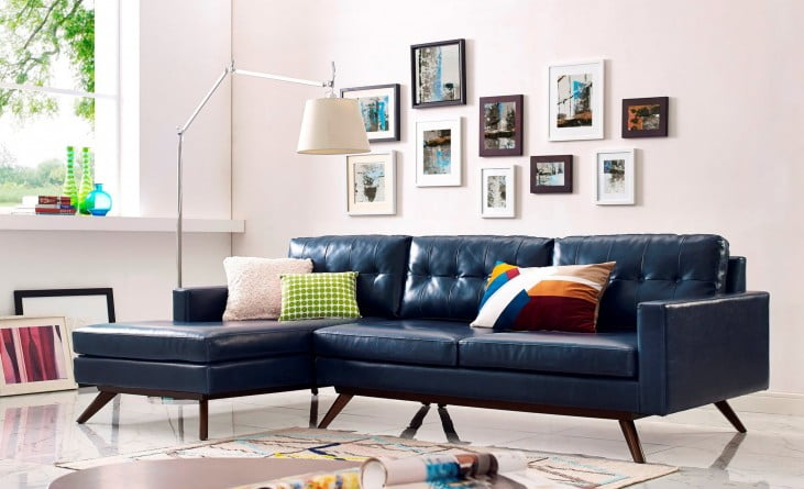 Blake Antique Blue LAF Sectional