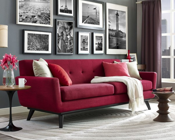 James Red Linen Living Room Set