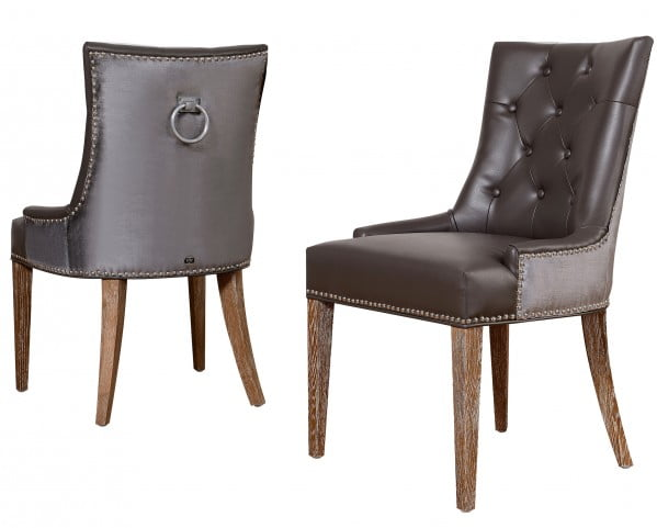 Uptown Leather/Velvet Dining Chair Set of 2